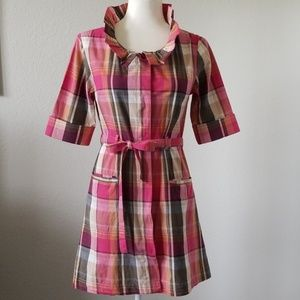 Anthropologie Floreat With A Flourish Plaid Dress